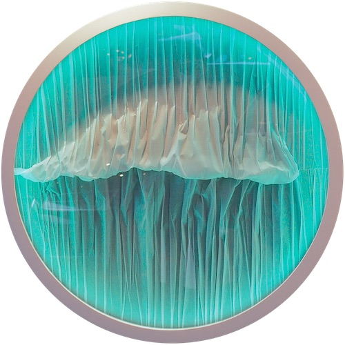 <b>Tide</b><br/>paper, lightbox and wooden frame<br/><br/>Diameter 100 cm<br/>2015<br/>