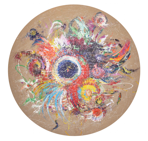 <b>Sembilan</b><br/>mixed media on canvas<br/><br/>Diameter 200 cm<br/>2015<br/>