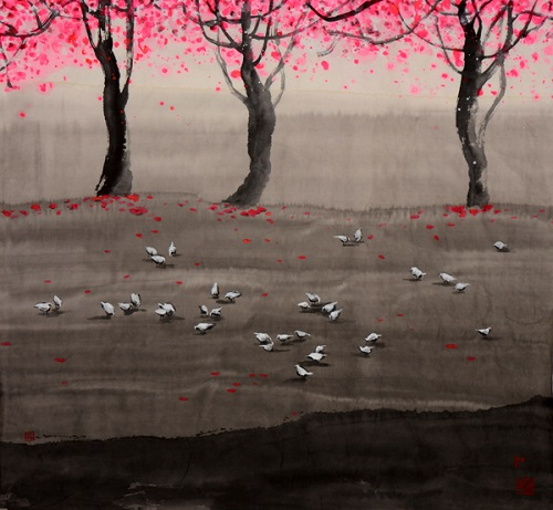 <b>Under the Pink Trees</b><br/>mixed media on paper<br/><br/>90 x 96 cm<br/>2014<br/>