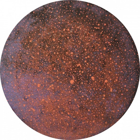 <b>Unexplored Galaxies</b><br/>gloss paint on MDF board<br/><br/>Ø 121 cm<br/>2014<br/>