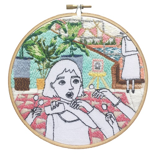 <b>The Twelve Rooms Series - Room #11</b><br/>wooden hoop, cotton embroidery thread, cotton canvas<br/><br/>Ø 15.2 cm<br/>2016<br/>