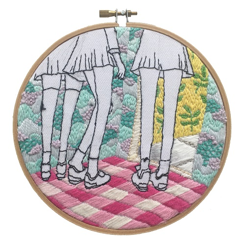 <b>The Twelve Rooms Series - Room #2</b><br/>wooden hoop, cotton embroidery thread, cotton canvas<br/><br/>Ø 15.2 cm<br/>2016<br/>