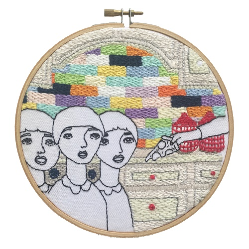 <b>The Twelve Rooms Series - Room #4</b><br/>wooden hoop, cotton embroidery thread, cotton canvas<br/><br/>Ø 15.2 cm<br/>2016<br/>