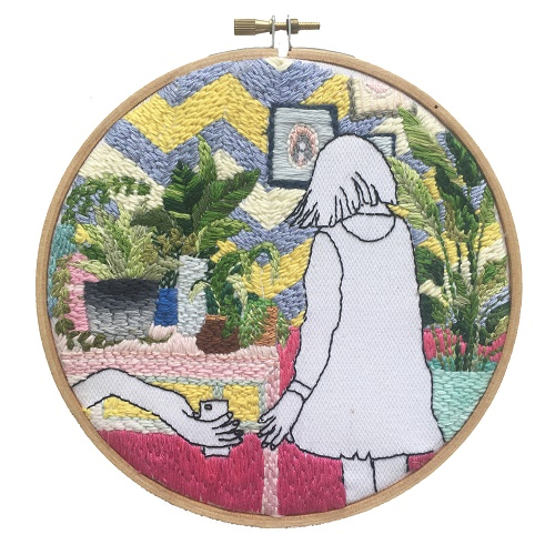 <b>The Twelve Rooms Series - Room #6</b><br/>wooden hoop, cotton embroidery thread, cotton canvas<br/><br/>Ø 15.2 cm<br/>2016<br/>