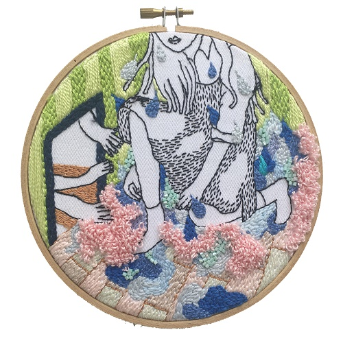 <b>The Twelve Rooms Series - Room #7</b><br/>wooden hoop, cotton embroidery thread, cotton canvas<br/><br/>Ø 15.2 cm<br/>2016<br/>