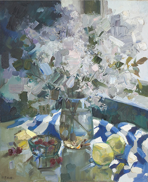 <b>Bouquet at the Window</b><br/>oil on canvas<br/><br/>61 x 50 cm<br/>1988<br/>