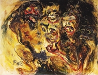 <b>Masks</b><br/>oil on canvas<br/><br/>97 x 124 cm<br/>1966<br/>