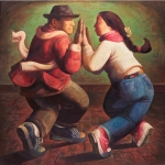 <b>Dancing Couple</b><br/>oil on canvas<br/><br/>160 x 160 cm<br/>2002<br/>