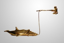 <b>Lucky Fisherman - Golden Series</b><br/>brass-plated fibreglass<br/><br/>90 x 25 x 53 cm<br/>2017<br/>edition of 7