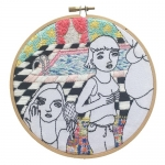 <b>The Twelve Rooms Series - Room #8</b><br/>wooden hoop, cotton embroidery thread, cotton canvas<br/><br/>Ø 15.2 cm<br/>2016<br/>
