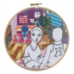 <b>The Twelve Rooms Series - Room #9</b><br/>wooden hoop, cotton embroidery thread, cotton canvas<br/><br/>Ø 15.2 cm<br/>2016<br/>