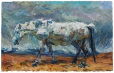 <b>White Horse</b><br/>acrylic on paper<br/><br/>72 x 115 cm<br/><br/>