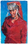<b>Woman in Red, </b><br/>acrylic on paper<br/><br/>115 x 72 cm<br/>2009<br/>