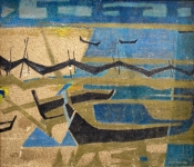 <b>Fishing Scene</b><br/>sand & pigment on canvas<br/><br/>89 x 104 cm<br/>1970<br/>