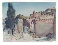 <b>Castle in Milan 2 </b><br/>Watercolor on paper <br/><br/>29 x 38 cm <br/>1949<br/>
