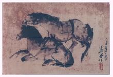<b>Two Horses</b><br/>Ink onpaper<br/><br/>28 x 50 cm <br/><br/>