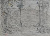 <b>Borobudur</b><br/>Pencil & color on paper<br/><br/>33 x 45 cm<br/>1957 <br/>